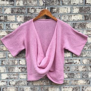 Vintage Hand Made Faux Wrap Knit Cropped Sweater